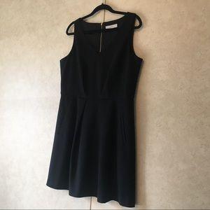 Loft Black Fit & Flare V-neck Sleeveless Dress